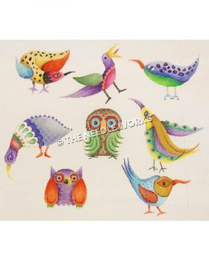 multi-colored birds with detailed designs on white background