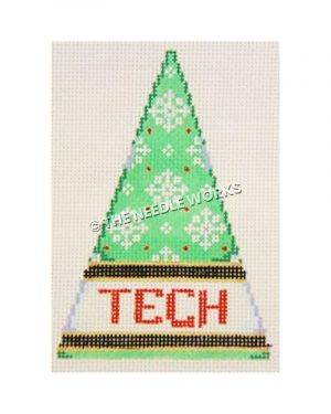 green Christmas tree with white snowflakes and TECH written in red on white band