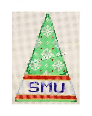 green Christmas tree with white snowflakes and SMU written in blue on white band