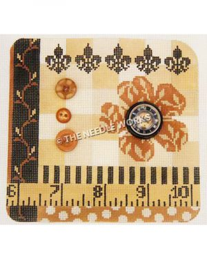 gold, orange and black calico pattern with flowers, stripes, dots, vine and ruler with numbers 6-10