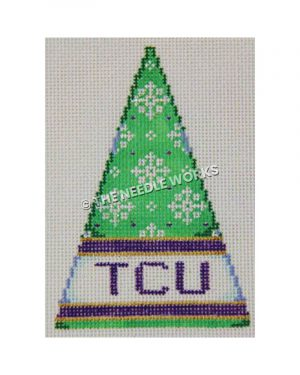 green Christmas tree with white snowflakes and TCU written in purple on white band