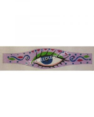 purple belt with large blue eye with green eye shadow with pink and blue geometric border
