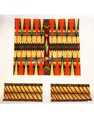 orange and yellow backgammon pattern with multiple colors and patterns in between triangles