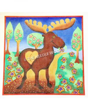 backside of moose looking over shoulder walking on trail with 4 trees with pink and yellow, purple and yellow flowers holding flower in its mouth