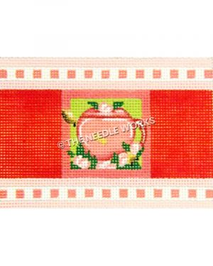 pink teapot with pink roses on green background and red and pink border