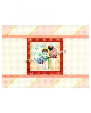 heart with pink mailbox and and heart shaped flag with pink and yellow striped background and red border
