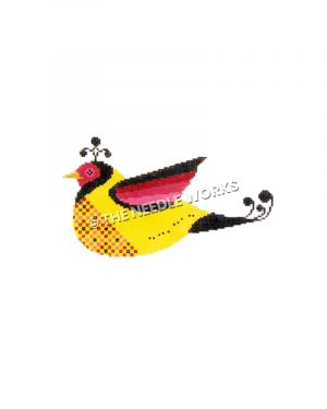 yellow bird with pink and black heads and wings and black tail