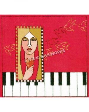 blonde woman holding heart framed with piano border and pink background with outlines of birds in black and gold