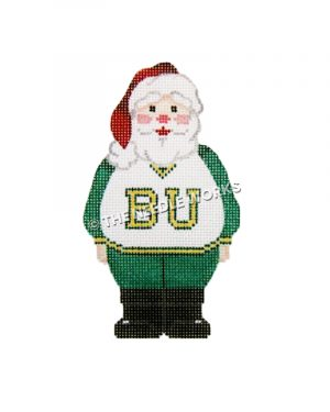 Santa wearing green and white sweatsuit with BU written in gold on front