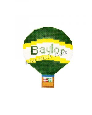 Baylor hot air balloon with green, gold and white and Baylor written in green and gifts in basket