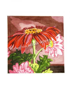 pink and red flowers on pink background