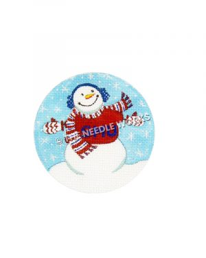 ornament with snowman wearing red and blue SMU sweater and scarf with blue background and snowflakes