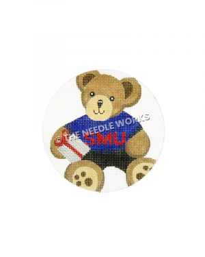 ornament with teddy bear in SMU shirt and holding white and red gift
