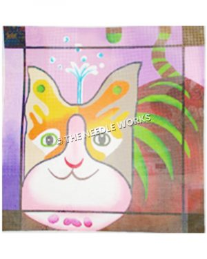 pink, brown, yellow and red cat with green stripes on pink background with splash of water coming up from cat's head