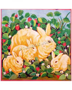 yellow bunnies in patch of strawberries with white flowers