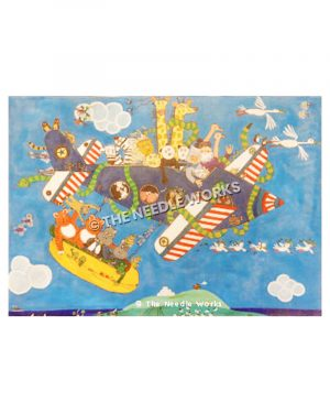 Noah's ark with all animals in a blue, red and white airplane and raft carried by plane with birds flying around and Mt. Sinai background with the ark resting on top