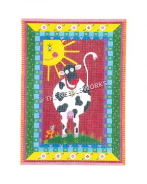 black and white cow with small duck on red background with sun and multiple patterned and colorful border