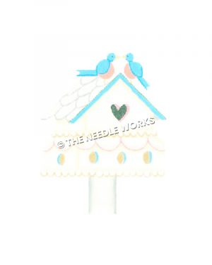 white bird house with blue trim, heart-shaped opening and two blue birds sitting on roof