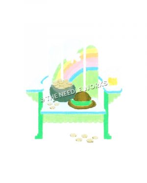 leprechaun hat and pot of gold on green and white adirondack chair with rainbow on back