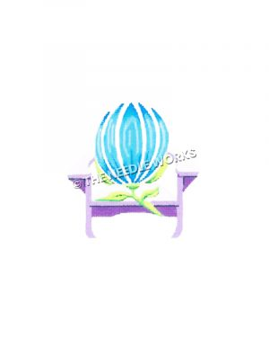 blue flower on purple and white adirondack chair