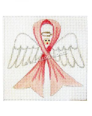 angel with pink breast cancer awareness ribbon wrapped around head