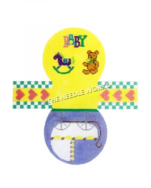 3D round baby themed basket with baby carriage, rocking horse and teddy bear with BABY written in different colors with heart and green and white checkered edge