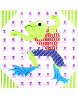 jumping frog wearing red, white, and blue patterned swimsuit and blue flippers with pink polka dots and purple patterned background with green and white striped triangled corners