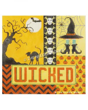 Halloween themed patchwork square in orange and yellow with haunted tree, black cat, and bat in moon, skull and crossbones, witches hat and feet with spiderweb, and small jack-o-lanters with WICKED written in orange on yellow rectangel