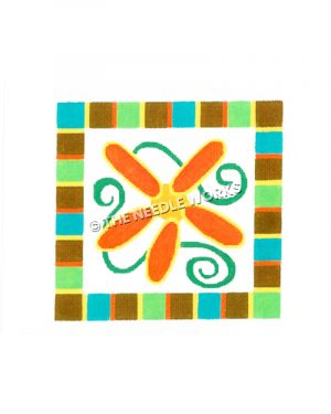 orange and yellow flower with green swirls on white square with turquoise, brown, green, yellow and orange squared border