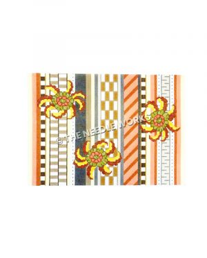 three orange and yellow flowers on geometric striped patchwork background in black, white, gold, orange, and pink
