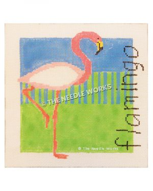 pink flamingo on one leg with blue and green background and flamingo written in black