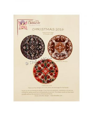 trio of decorative round Christmas ornaments in pink and black, silver and gold, and red and green