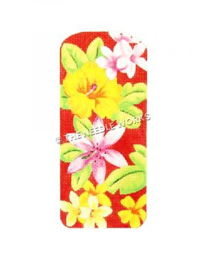 red eyeglass case with yellow and pink flowers