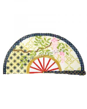 gold fan with blue and white polka dotted trim with pink wisteria on gold and blue patterned background