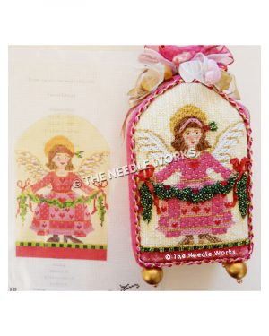brunette angel in pink dress with red hearts carrying garland with red bows and hearts, trimmed in red, pink and yellow