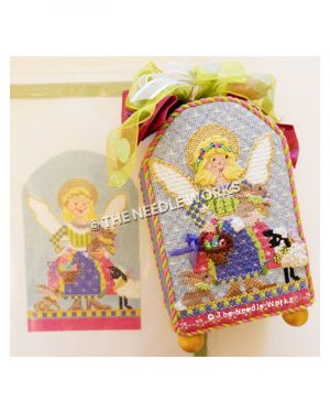 blonde angel in green, pink, purple and yellow patchwork dress carrying a brown bunny and basket of Easter eggs with sheep and bunny at her feet