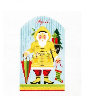Santa in yellow raincoat, red pants, and yellow boots carrying red and green umbrella and green and red stocking with April written in red above on a blue background with raindrops