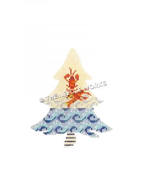 white Christmas tree with red lobsters above waves