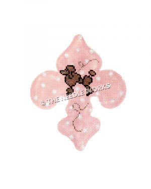 pink fleur de lis with white polka dots and brown poodle