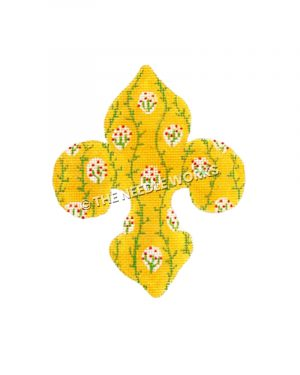 yellow fleur de lis with green vines and small green plants with red flowers