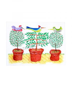 three green plants in red pots and a multi-colored bird sitting on top of each