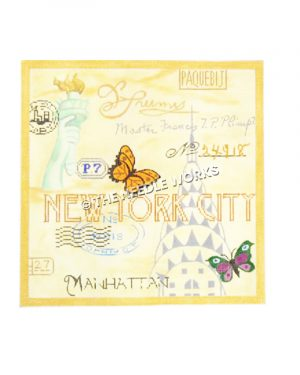 New York City collage with Statue of Liberty, Empire State Building, the word Manhattan and stamp designs with black, yellow and green, purple butterflies
