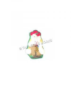 Santa in red cowboy hat and yellow robe with white trim holding green and yellow checkered stocking with candy canes