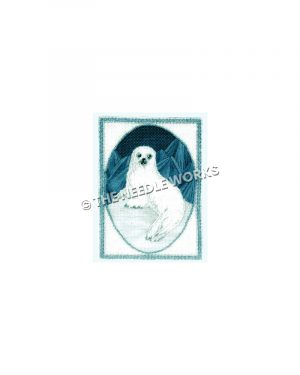 white seal on snow hill with dark blue background in oval and framed by white rectangle with teal border
