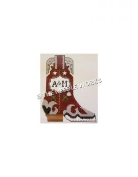 maroon boot with silver, black and white trim and A&M written in white badge on side with white roses and stars