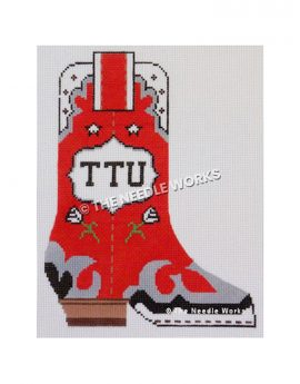 red boot with white, black and silver trim and TTU written in white decorative badge on side and white flowers and stars