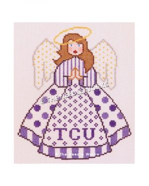 brunette angel with purple and white striped blouse and white skirt with purple polka dots and TCU written in purple