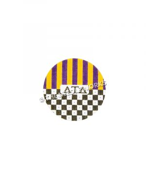 round ornament with Delta Tau Delta Greek letters in center and purple and yellow stripes on top half and black and white checkered pattern on bottom half