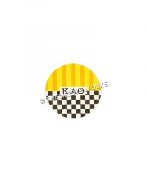 round ornament with Kappa Alpha Theta Greek letters and yellow and orange striped top half and black and white checkered bottom half