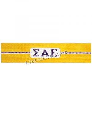 yellow belt with Sigma Alpha Epsilon Greek letters in purple